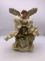 Vintage Angel Figure  Cartapesta Paper Mache ? or Stiffened Fabric Tree Topper