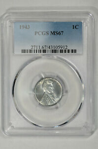 1943 1c Lincoln Steel Wheat Cent PCGS MS 67