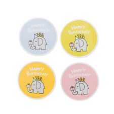 40 Piece Round Happy Birthday Elephant Paper Labels Sealing Stickers 43mm