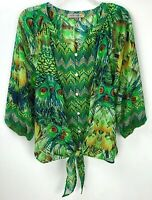 Figueroa & Flower Anthropologie Green Semi Sheer Tie Front Blouse Size Medium