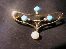 9 Carat Turquoise Brooch/Pin Art Nouveau Fine Jewellery