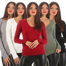 4797 Damen Feinstrick Pullover Pulli Strickpullover Langarm V-Ausschnitt Pulli