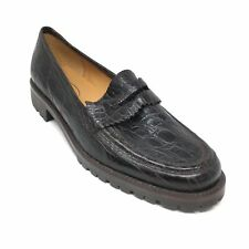 Women's NEW Talbots Slip On Penny Loafers Shoes Size 8.5 Brown Leather Croc