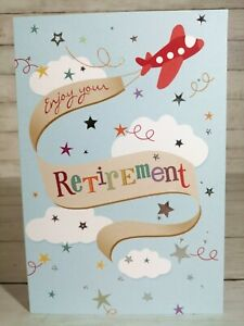 Enjoy Your Retirement Greetings Card, Aeroplane With Banner & Stars, Blue