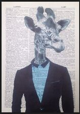 Giraffe Print Vintage Dictionary Page Wall Art Picture Hipster Animal Suit Human