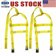 Yellow Tiedown Straps Tow Dolly Wheel Net Set Flat Hooks Will fit for a STEHL US