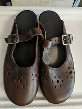 DANSKO Brown Leather Clog Mule Mary Jane Cut Out Stapled Buckle EU 41/10-10.5
