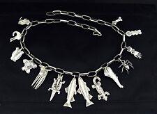 "Ross Lewallen, Santa Fe NM, Sterling Silver Native American Fetish Belt 35"" adj"