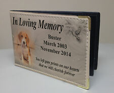 Personalised faux leather photo album, memory book, in loving memory beagle dog