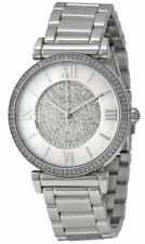 NEW Michael Kors Women's Catlin Mother of Pearl Crystal Dial Silver Watch MK3355