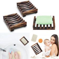 2 Piece Bathroom Wooden Soap Case Holder Sink Deck Bathtub Shower Dish Soap Box