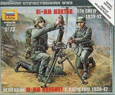 Zvezda 1/72 Figures German 81mm Mortar w/ Crew 1939-42 Z6111