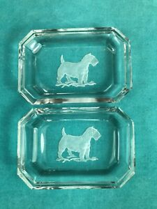 PAIR OF VINTAGE INTAGLIO CRYSTAL OPEN SALTS WITH FROSTED SEALYHAM TERRIER DOGS