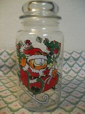 """Vtg 1978 Garfield w/ Sleigh & Odie 8"""" Glass Christmas Canister & Lid EUC MINTY!"""