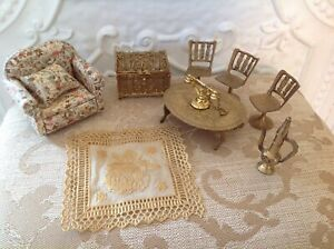 Metal miniature dolls house items , floral couch, rug