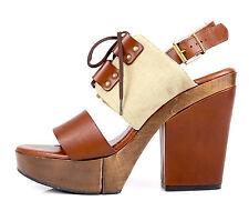 Robert Clergerie 1175 Davys Lace Up Leather Platform Sandals Size 9.5