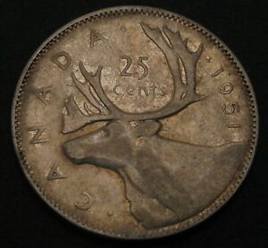 CANADA 25 Cents 1951 - Silver - George VI. - VF - 3731