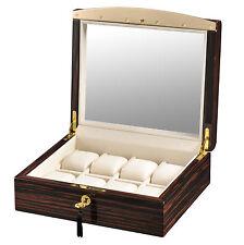 High Quality VOLTA Ebony Wood 8 Watch Display Case / Storage Box -White Interior