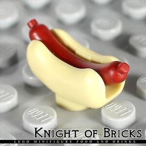 LEGO Minifigure Food TAN Hot Dog Bun with RED Sausage Restaurant City
