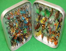 Vintage Wheatley alloy fly box with Steel Eyed Salmon flies