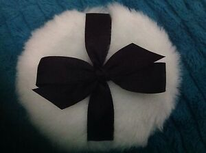 Luxurious Body powder puff, super soft, 4 inches with black  ribbon and bow