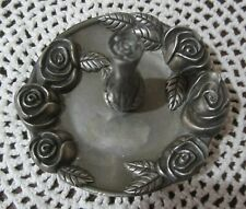 Vintage Godinger Silver Toned Ring Holder Round With Flowers RING JEWELRY HOLDER