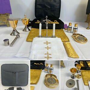 9 Piece Travelling Communion Mass Kit – Gold Brocade -  Stunning Detail