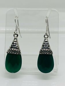 Gorgeous Real Chrysoprase Agate Stone Drop Earrings 925 Solid Silver #13537