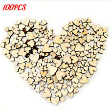 100pcs Rustic Wood Wooden Love Heart Wedding Table Scatter Crafts DIY Decor Mix