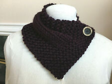 Hand Knit Eggplant Neck Warmer Scarf  Wrap with Button Closure - Handmade