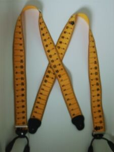 "X 1-1/2"" YELLOW TAPE RULE  Mens Suspenders BUTTON ON USA Made"