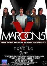 "Maroon 5 / Tove Lo ""V World Tour 2016"" Salt Lake City Concert Poster-Adam Levine"