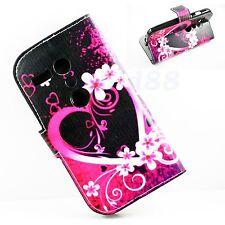 Purple Heart Leather Skin Flip Phone Wallet Cover Case For Motorola Moto G 1 Gen