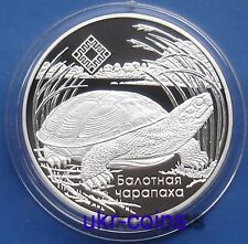 2012 Belarus 1 Oz Silver Proof Coin Bog Turtle WWF Fauna Wildlife 20 rubles RARE