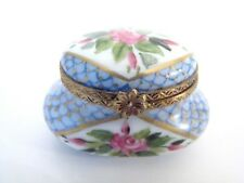 Limoges Box - Elegant Blue with Roses Pot Limoges Box