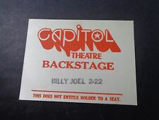 ! Billy Joel-2-22-red :Concert-Backstage Pass-Capitol Theatre-Nj-unused