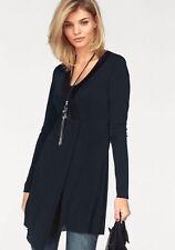 Laura Scott Shirt Zipfelsaum Ausschnitt m. Strickbündchen Ripp-Jersey Schwarz 36