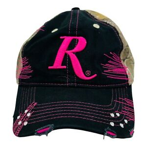 Remington Womens Ball Cap Hat  Adjustable  Pink Camouflage Bling Distressed