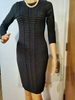 NEW KAREN MILLEN KNITTED EMBELLISHED DRESS SIZE 1  / UK 8 APPROX BLACK BLUE