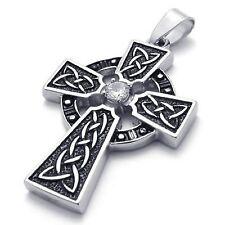Men's Irish Knot Celtic Cross Mosaic Zircon Stainless Steel Pendant Necklace
