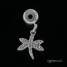 Sterling Silver CZ Dragonfly European Stopper Charm Pendant #94419