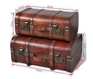Vintage Retro Wooden Treasure Trunk Storage Chest Box 2 Suitcase High Brown Look