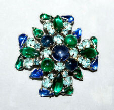 Vintage Signed Weiss Maltese CrossTeal Green Blue Rhinestone Brooch Pin Cabochon