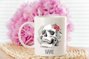 Personalised Skull with Rose Mug, 11oz Mug, tea, coffee, gifts for everyone, Cup