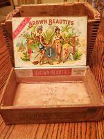 Brown Beauties Wooden Cigar Box w/Two Beauties Rare Vintage