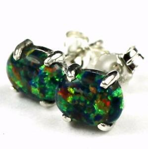 Created Black Opal, Sterling Silver Post Earrings, SE002C