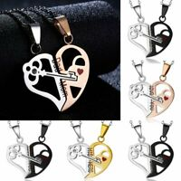 Mother's Day Gift 2Pcs/set Stainless Steel Love Heart Key Pendant Necklace Women
