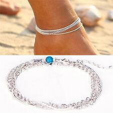 Strand Multilayer versilbert Fußkettchen einfache Perle Knöchel Freizeit SchmqST
