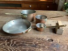 Vintage French Copper Cookware W/ Cast Brass Bronze Handles Antique Pan Cup