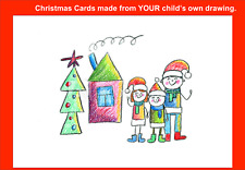 Personalised Handmade Christmas Cards - child's own drawing/design. Pack of 6
